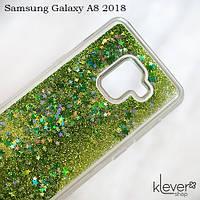 TPU чехол накладка Aquarium hearts для Samsung Galaxy A8 2018 (A530)  (зеленые блестки)