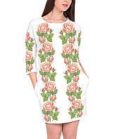Заготовка жіночого плаття чи сукні для вишивки та вишивання бісером Бисерок  «Ніжні троянди 102» bf6dae01a5f62