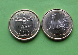 Италия 1 евро 2002 г. UNC.