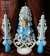 Нежно-голубой свадебный набор со статуеткой жениха и невесты