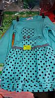 Платье для девочки трикотажное на 3-6 лет с длинным рукавом бирюзового цвета в горошек кошечка оптом