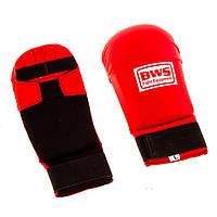 Накладки (перчатки) для каратэ PU World Sport(S-L,красный)