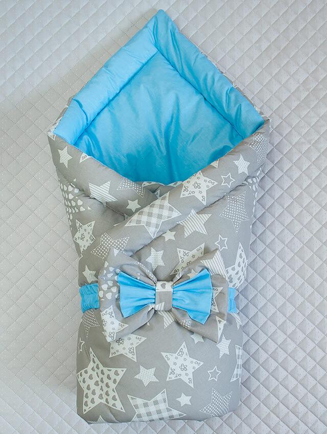 """Демисезонный конверт-одеяло """"Звездочка"""", голубой/серый принт звезды"""