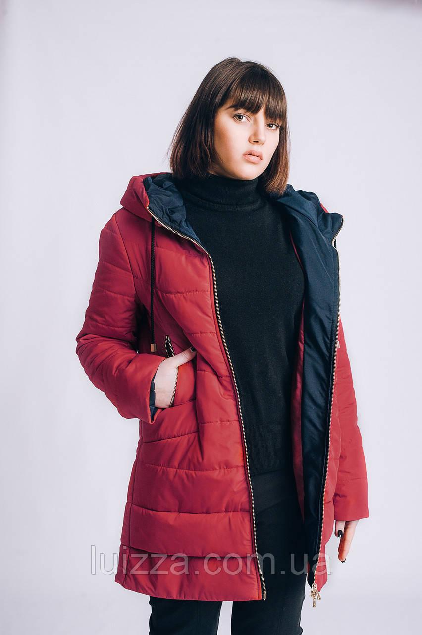 Женская весенняя куртка большого размера 54-66рр красная
