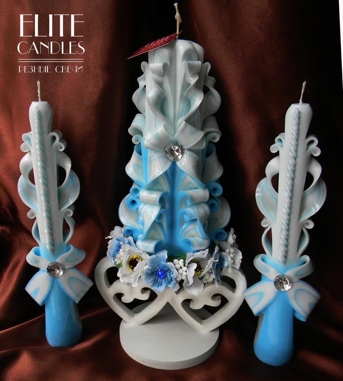 Свадебные свечи голубого цвета