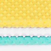 Набор отрезов плюша минки: жёлтый, белый, тёмно-мятный (50*50)
