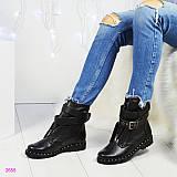 Демисезонные ботинки с ремешком (съемный), цвет- черный
