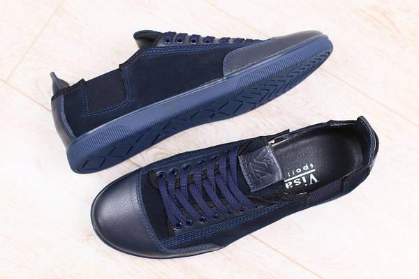 cf909de1951b Мужские спортивные туфли, синие, комбинированные  натуральная кожа и нубук,  на шнурках