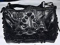 Женский черный клатч из натуральной кожи на два отдела на цепочке 20*14 см