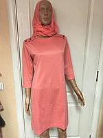 Платье женское деловое, праздничное трикотажное коралловое