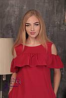 """Платье с воланом на плечах """"Глория"""" красный, 42, фото 1"""