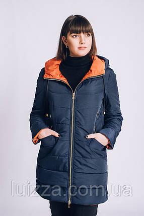 Женская весенняя куртка большого размера 54-66 рр синий, фото 2