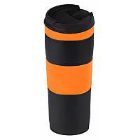 Термокружка вакуумная, металлическая, оранжевая, 400 мл