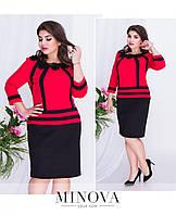 Элегантное женское платье с моделирующими цветными вставками и кружевом с 50 по 56 размер