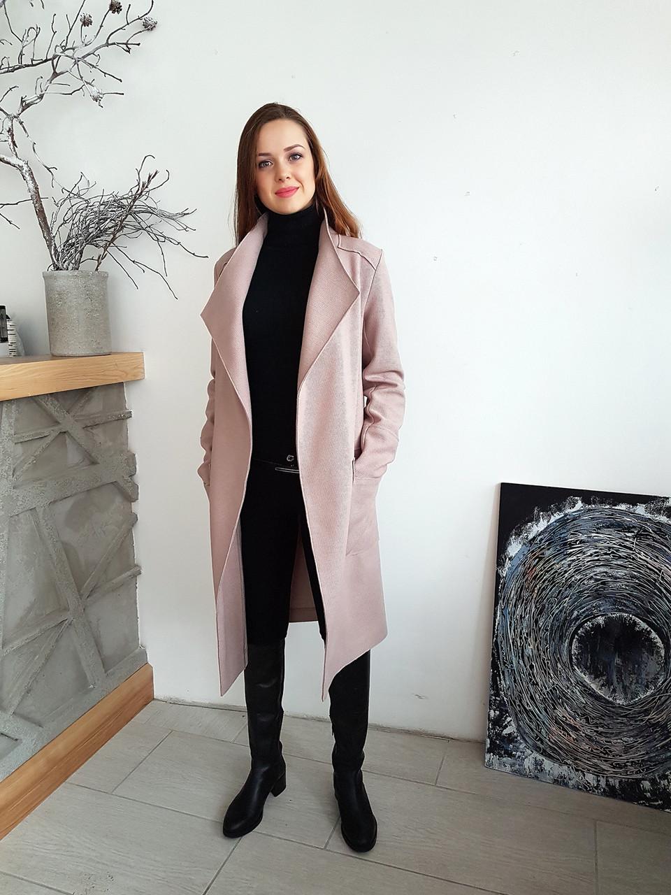 Женское пальто - кардиган под пояс без подкладки  продажа 465889db6fabb