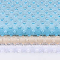 Набор отрезов плюша минки: белого, бежевого и небесно-голубого цвета  (50*50)