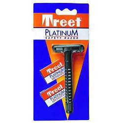 Т-образный станок для бритья Treet Platinum + 2 лезвия Treet Platinum