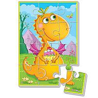 """Мягкие пазлы А5 """"Диномир""""  Оранжевый динозавр, в пак.24*17 см, произ-во Украина(VT1103-51)"""
