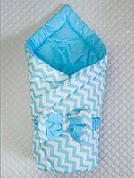 """Демисезонный двухсторонний конверт-одеяло """"Волна"""", голубое, принт волна"""