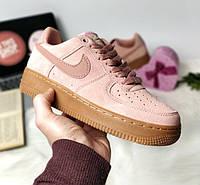 Женские кроссовки Nike Air Force 1 Low Pink/Gum (Реплика ААА+)