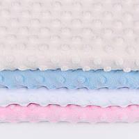 Набор отрезов плюша minky: молочный(слоновая кость), белый, голубой, светло-розовый  (50*50)