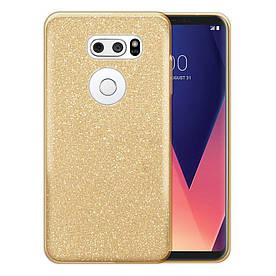 Чехол накладка для LG V30 H930 силиконовый 3-в-1, Fashion Case GLITTER, Золотистый