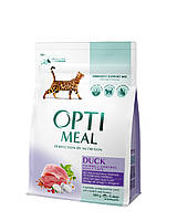 Сухой корм OPTIMEAL (ОПТИМИЛ) для взрослых котов выведение шерсти - (Duck Hairball Control) утка 0,3КГ