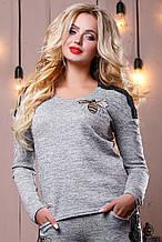 Стильный женский свитшот-кофта 2502 светло-серый