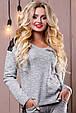 Стильный женский свитшот-кофта 2502 светло-серый, фото 2