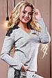 Стильный женский свитшот-кофта 2502 светло-серый, фото 3