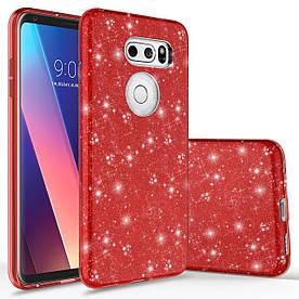 Чехол накладка для LG V30 H930 силиконовый 3-в-1, Fashion Case GLITTER, Красный