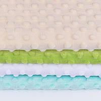 Набор отрезов плюша minky:  белый, бежевый,светло-мятный, светло-зелёный  (50*50)