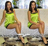 Атласный комплект майка и шорты