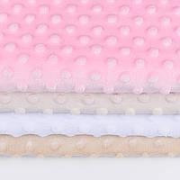 Набор отрезов плюша minky: молочный(слоновая кость), белый, бежевый, светло-розовый  (50*50)