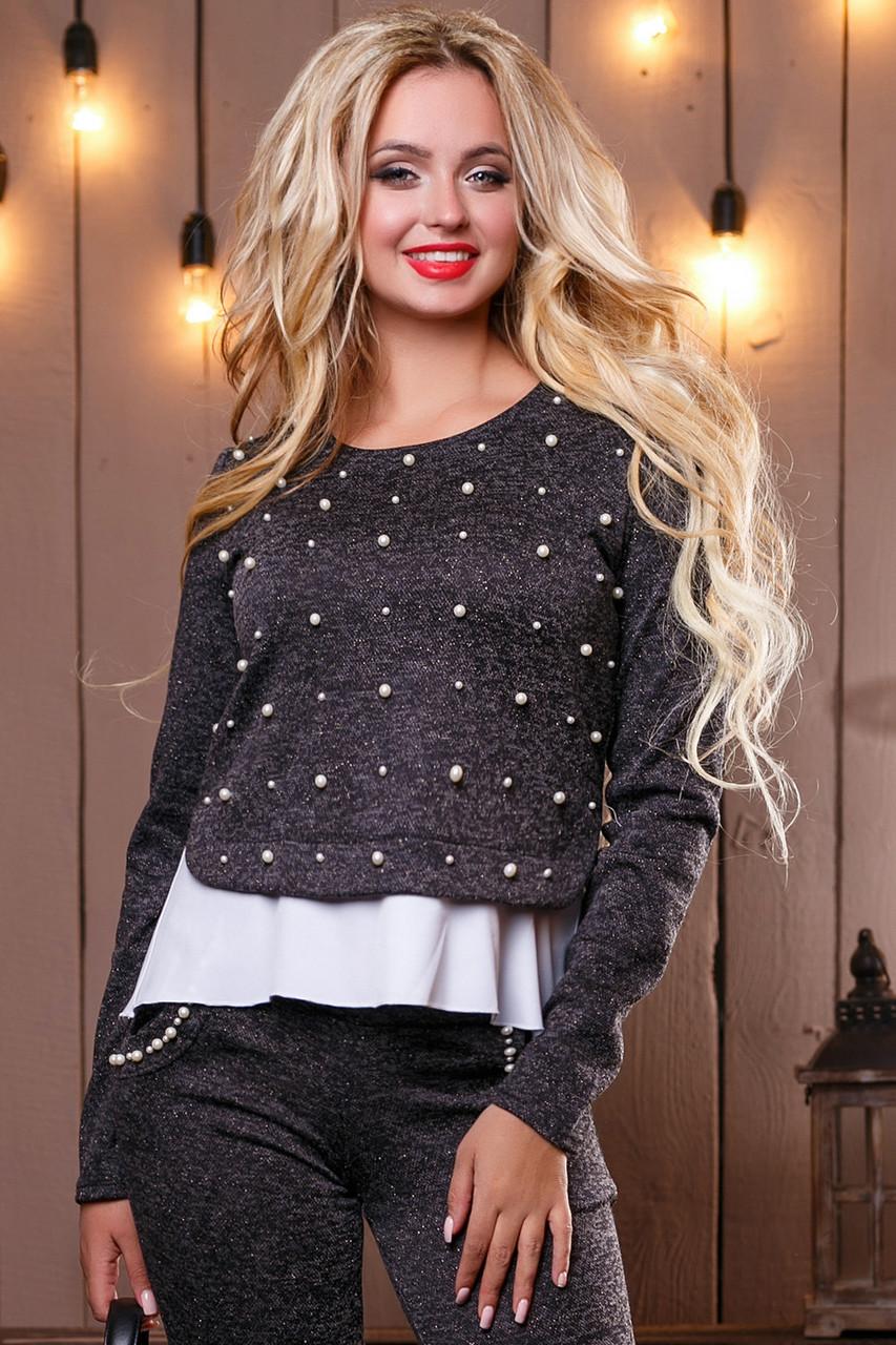 Красивый стильный женский свитшот-кофта 2501 черный меланж