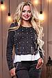 Красивый стильный женский свитшот-кофта 2501 черный меланж, фото 2