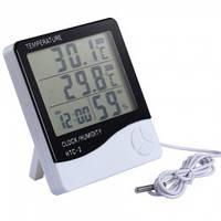 Измеритель температуры и влажности HTC-2 с часами  dc