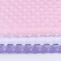 Набор отрезов плюша minky: белый, светло-розовый, лавандовый (50*50)