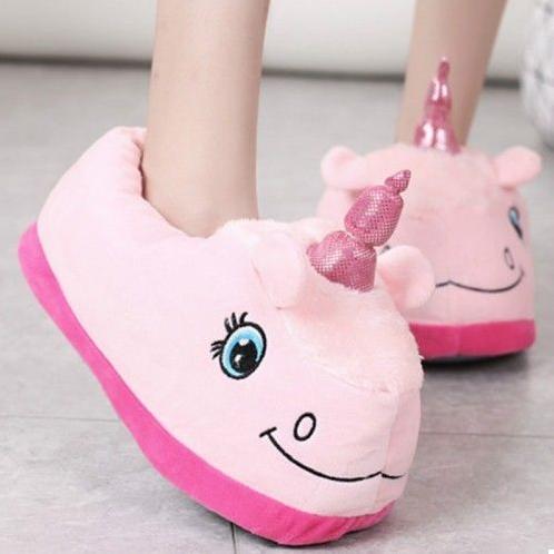 Плюшевые тапочки розовые Единороги