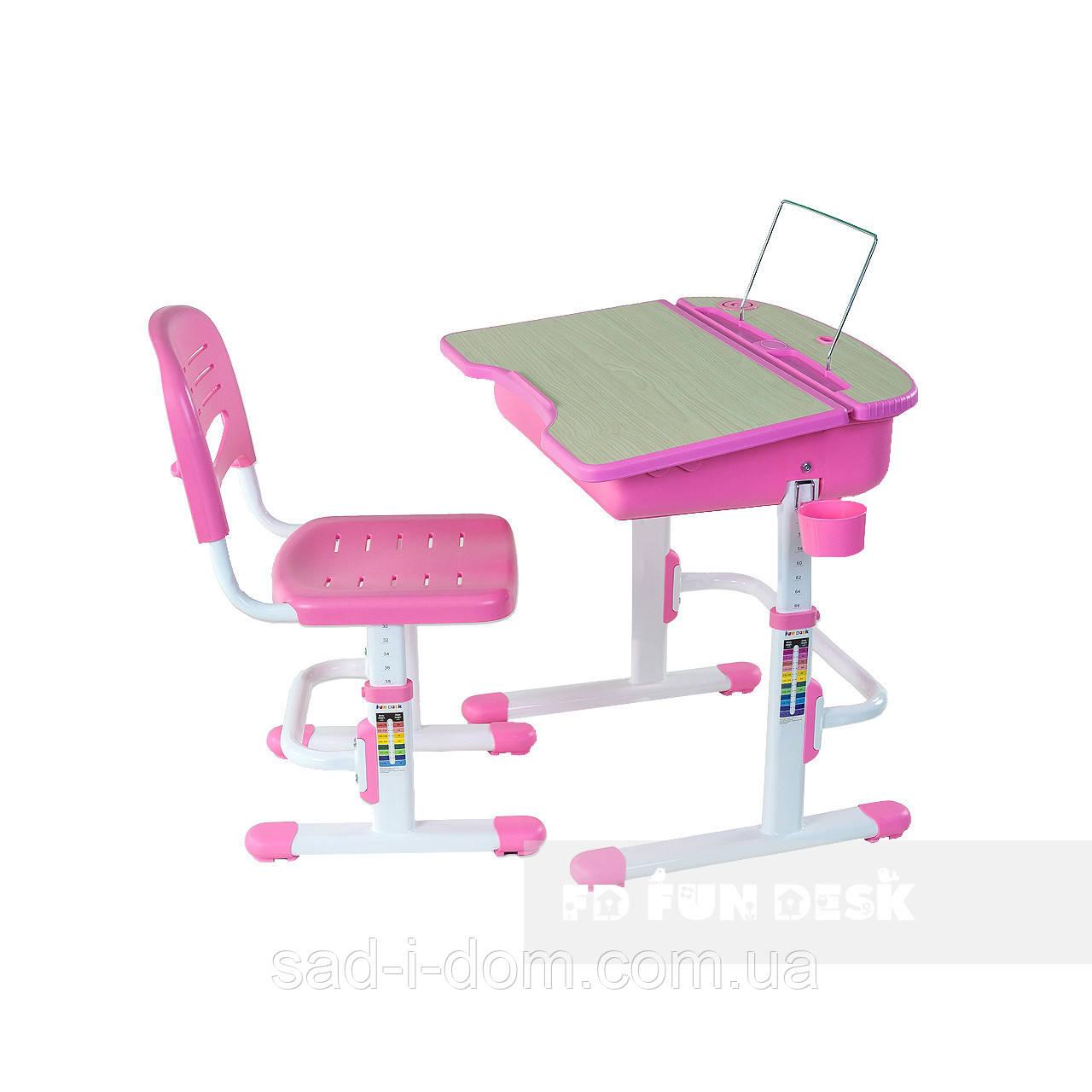 Растущая парта и стул, школьная парта-трансформер FunDesk Capri, розовая