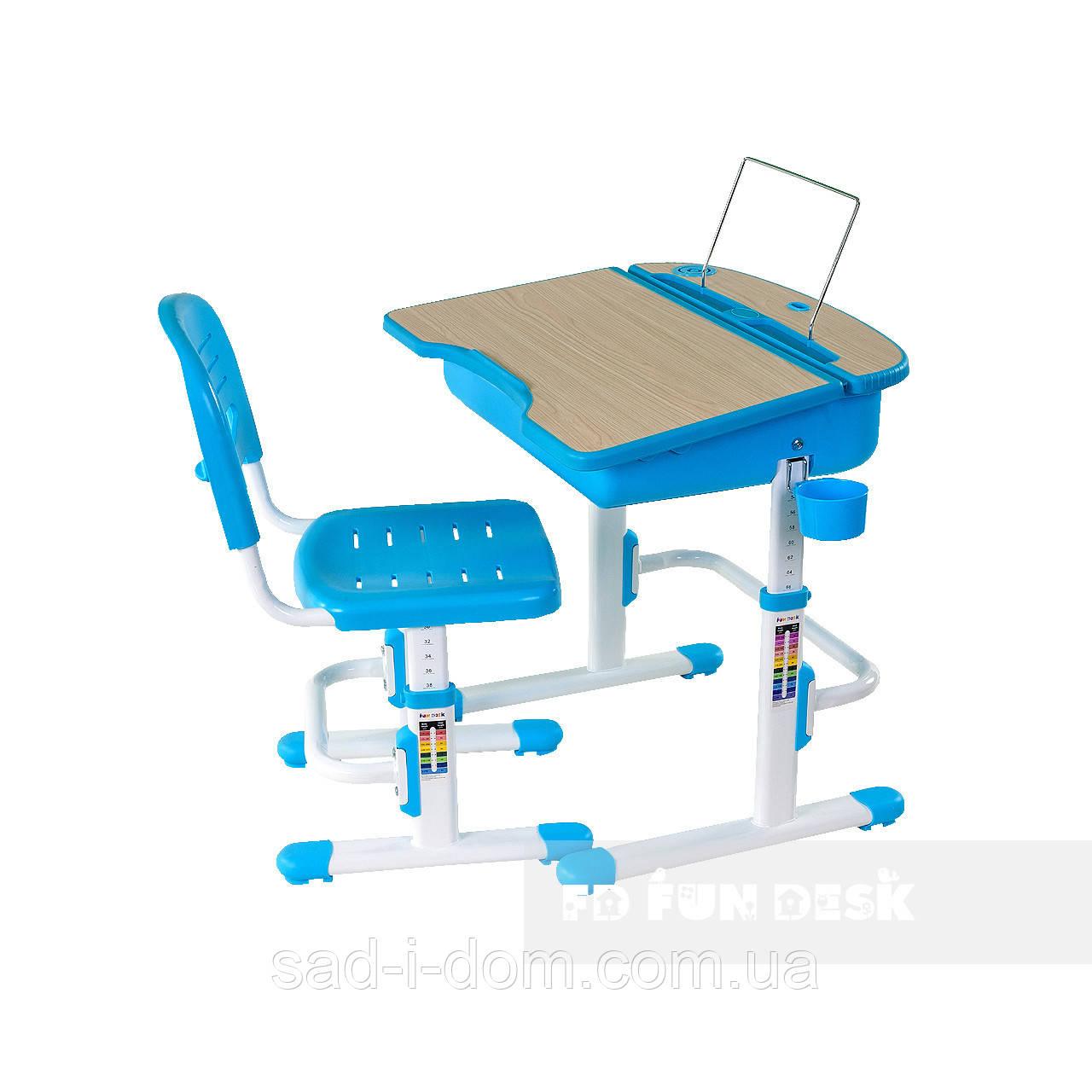 Детская парта со стульчиком, парта-трансформер FunDesk Capri, голубая