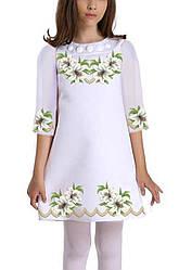 Заготовка дитячого плаття чи сукні для вишивки та вишивання бісером Бисерок «Ніжні лілії 048» (ДП-048)