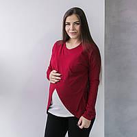 Топ с длинным рукавом для беременных и кормящих мам, одежда для кормления  Бордовый 90108b3bb0d