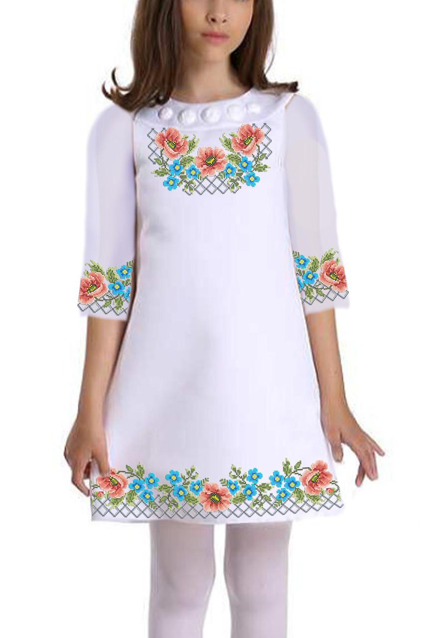 Заготовка дитячого плаття чи сукні для вишивки та вишивання бісером Бисерок «Чари квітів» (ДП-77)