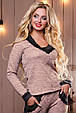 Стильный женский свитшот-кофта 2498 персиковый, фото 2