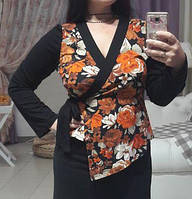 Блуза с запахом для беременных и кормящих мам ДЕЛОВАЯ МАМА (черная, размер L)