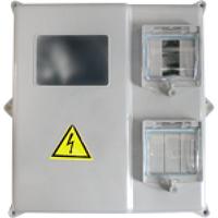 Шкаф герметичный под 1-3 фазный счетчик и 6 групп IP54 серый