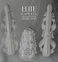 Свечи на свадьбу, резные ручной работы белого цвета