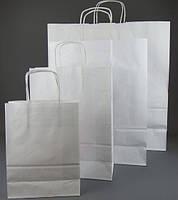 Бумажный пакет крафт белый 33x42x16 см с Вашим логотипом. Мин. тираж -100шт
