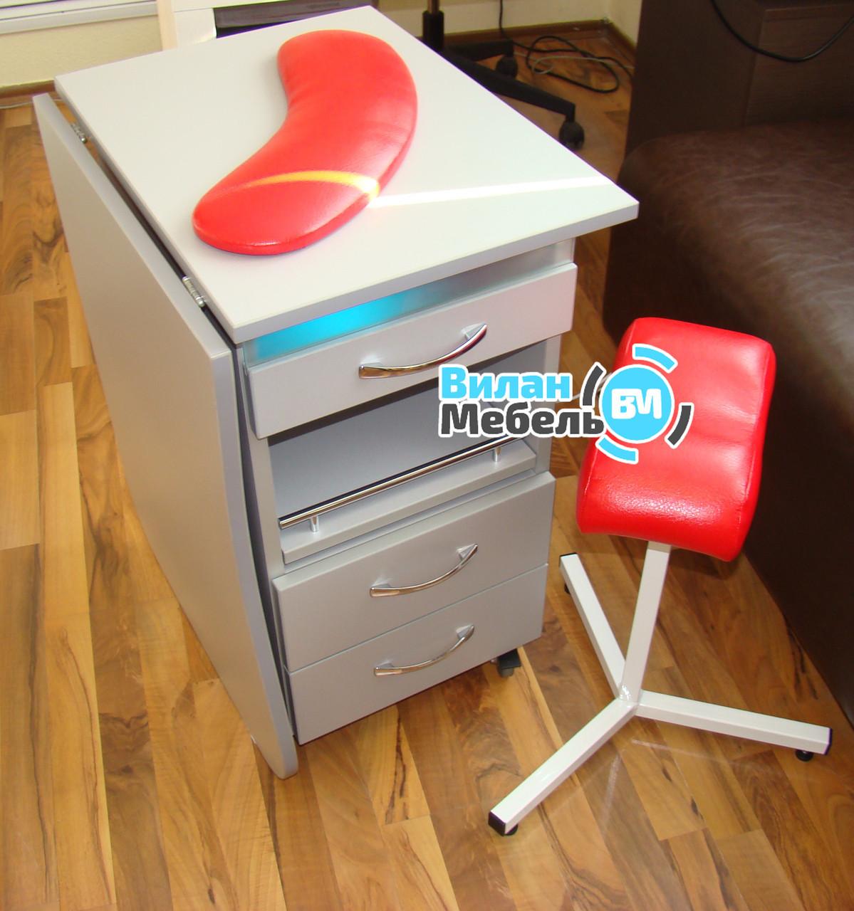 Маникюрный стол складной с БК лампой на роликах+тринога+подкова
